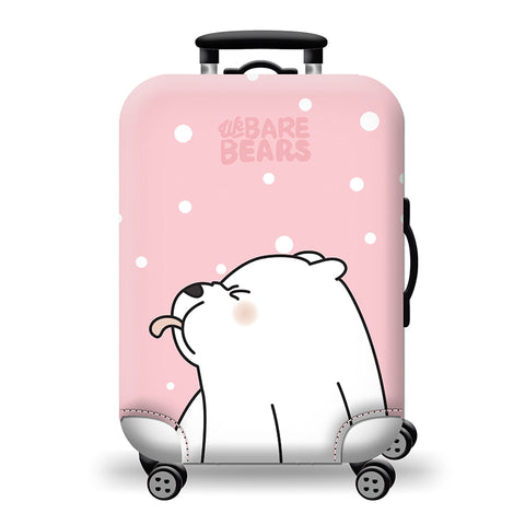 Elastic Travel Luggage Bag Protector Cover -We Bare Bears Pink 2