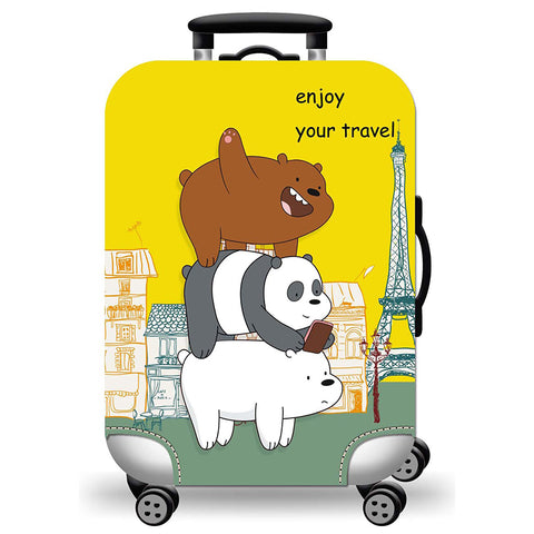 Elastic Travel Luggage Bag Protector Cover- We Bare Bears Yellow