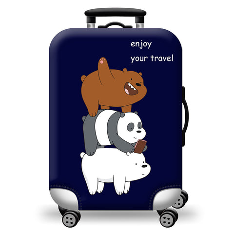 Elastic Travel Luggage Bag Protector Cover -We Bare Bears Navy