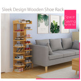 Brown 6/7/8 Tier Sleek Design Wooden Shoe Rack