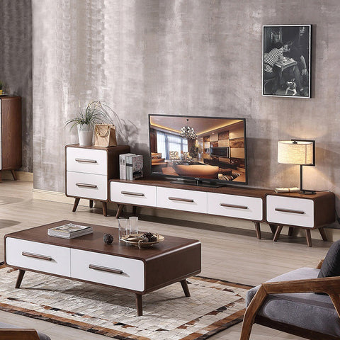 Premium Simple Minimalist Wooden TV Console + Coffee Table Set