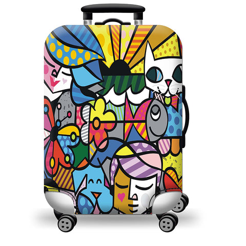 Elastic Travel Luggage Bag Protector Cover- Color Abstract