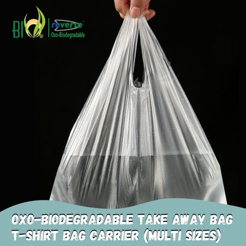 Oxo-biodegradable Take Away T-shirt BagsCarrier  (Multiple Sizes available)