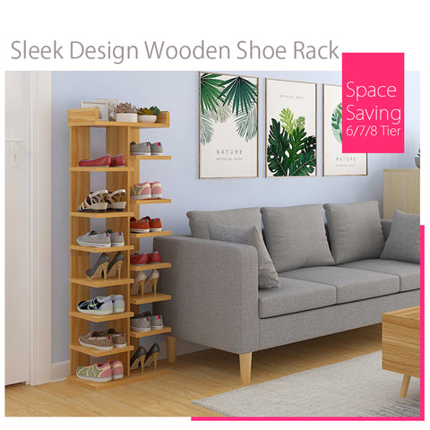 Ash 6/7/8 Tier Sleek Design Wooden Shoe Rack