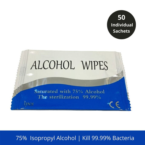 Alcohol  Antiseptic Wipes Disinfectant Sanitizer - 50pcs Individual Pack
