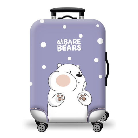 Elastic Travel Luggage Bag Protector Cover -We Bare Bears Purple