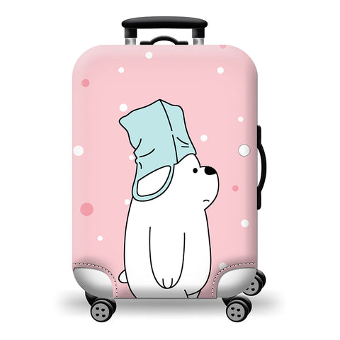 Elastic Travel Luggage Bag Protector Cover -We Bare Bears Pink 1