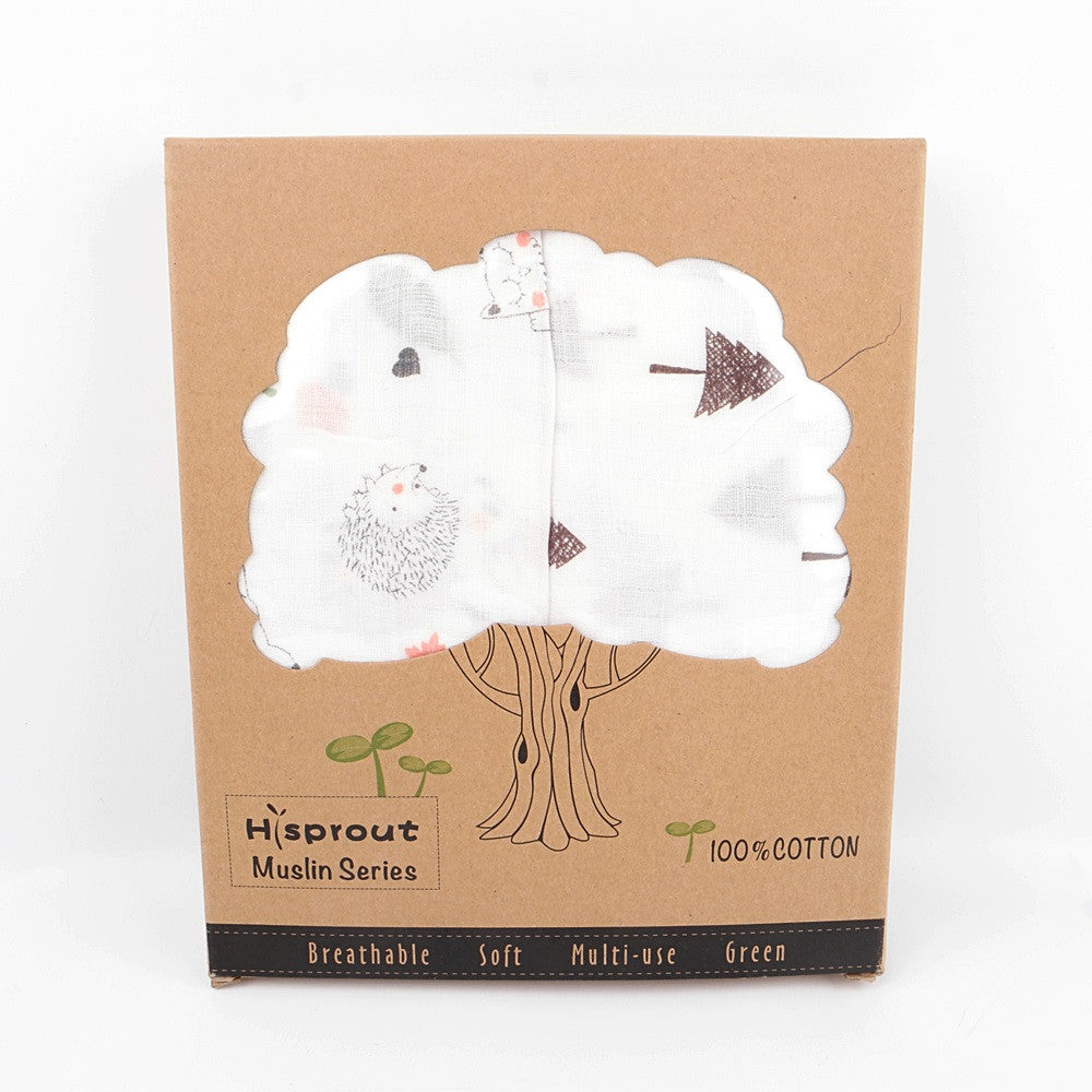 Trees and hedgehog swaddle set of 2