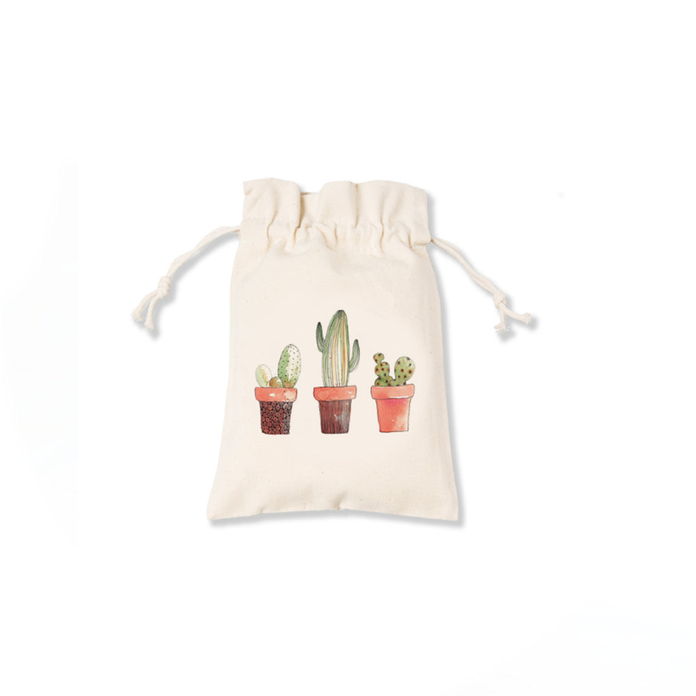 3 Potted Cactus Canvas Pouch