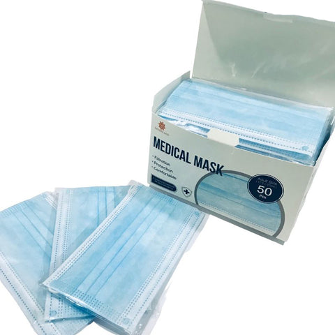 Adult 3ply Medical Face Mask - 50 Individual Packs / Box