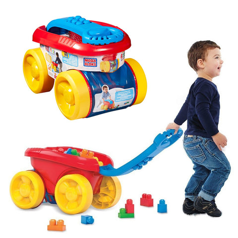Mega Bloks First Builders Block Scooping Wagon With 80PCS Building Bag Set