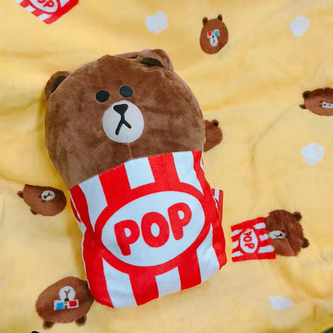 2 in 1 Line Friend Popcorn Cushion Blanket