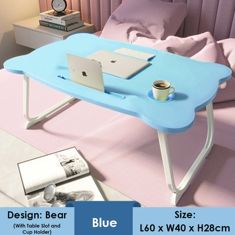 Anti-slip Foldable Laptop Table With Tablet Cup Slot - Bear