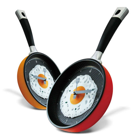 Frying Pan Clock with Fried Egg -Hanging Kitchen Wall Clock Kitchen