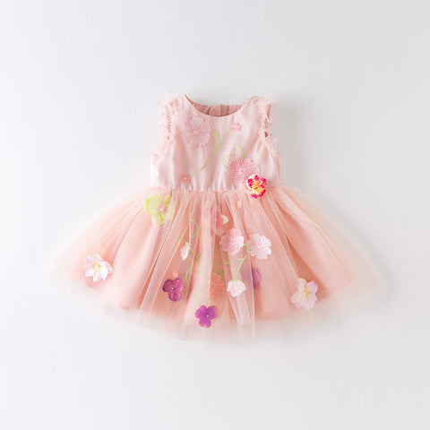 DaveBella Girl Pink Floral Embroidered Tulle Dress