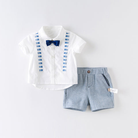 DaveBella Boy Bow Tie Shirt With Short Set