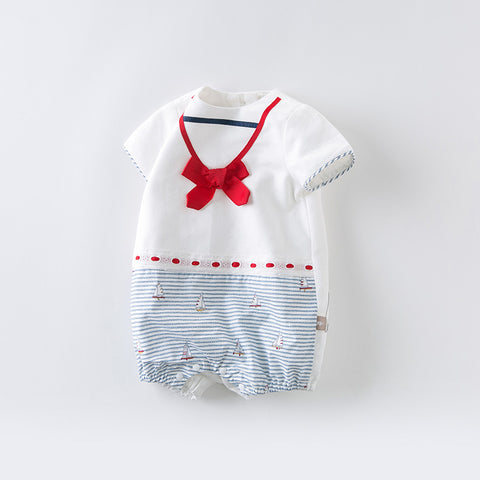 DaveBella Baby Nautical Ribbon Romper