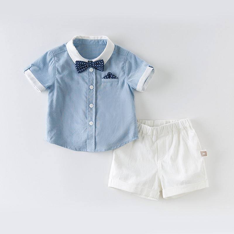 DaveBella Boy Bow Tie Shirt With Short Pants Suits