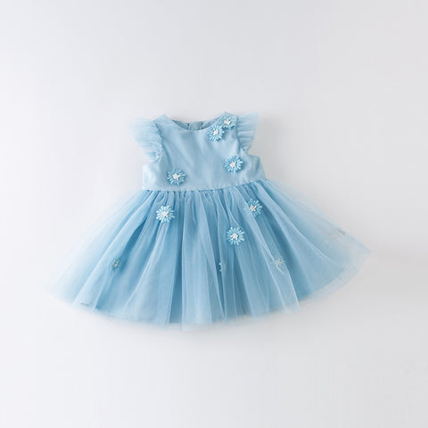 DaveBella Girl Blue Floral Lace Dress