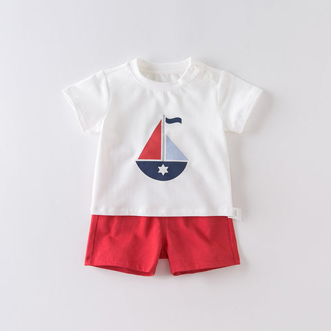 DaveBella Boy Sailboat Tee With Bottom Set