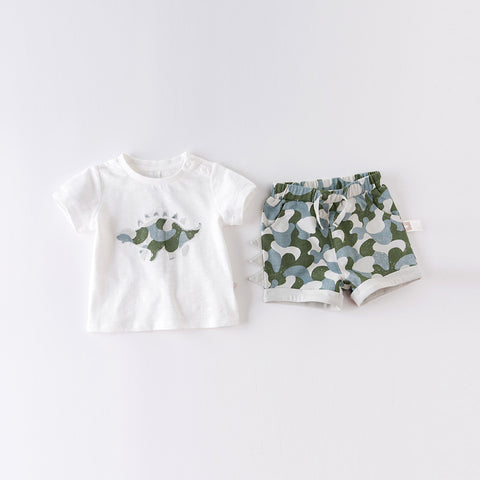 DaveBella Boy Dinosaur Top With Camouflage Bottom Set