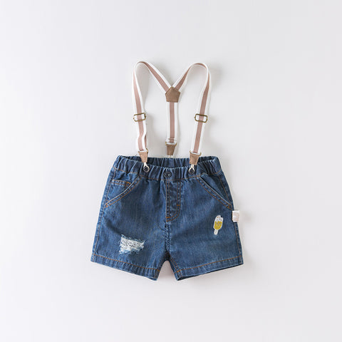DaveBella Boy Denim Blue Strap Pant