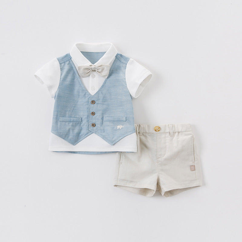 DaveBella Boy Bow Tie Vest Tee With Short Pant Set