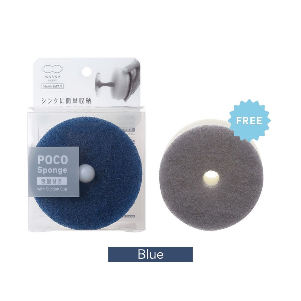 Japan Marna Poco Kitchen Sponge With Suction Hook [Free 1 Refill Sponge]