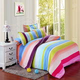 Rainbow Stripes Cotton 360° Fitted Bedsheet 4 Pcs Set