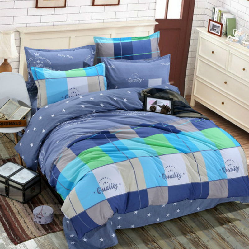 Blue Checkered Cotton 360° Fitted Bedsheet 4 Pcs Set