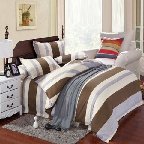 Simple Brown Stripes Cotton 360° Fitted Bedsheet 4 Pcs Set