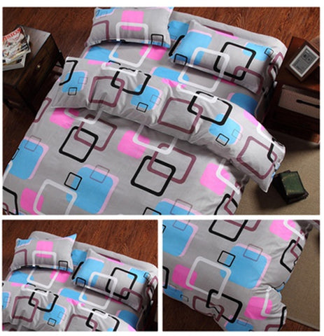 Square Pattern Cotton 360° Fitted Bedsheet 4 Pcs Set