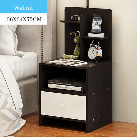 Wooden Bedside Table With Storage Rack