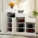 3 Doors Gloss Wooden Shoe Storage Cabinet (Low to High)