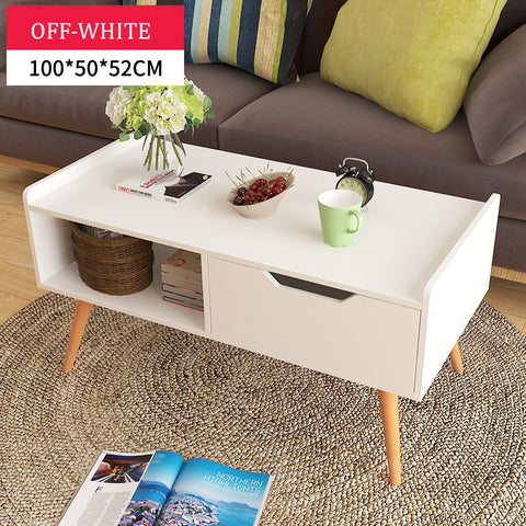 Scandinavian Wooden Off White Storage Coffee Table