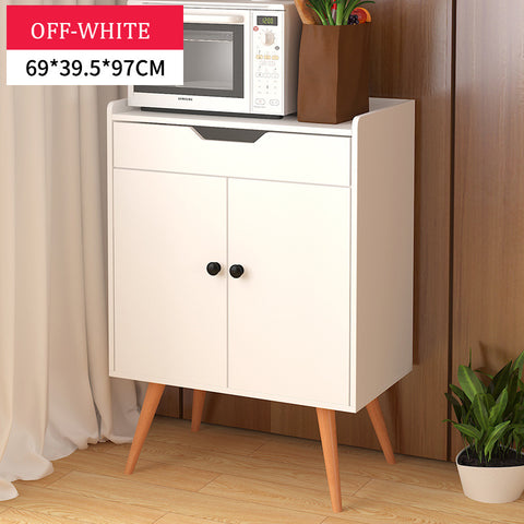 Scandinavian Wooden Off White Storage Cabinet