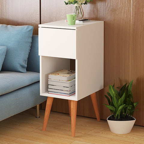 Scandinavian Wooden Off-White Side Table
