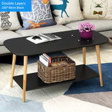 Minimalist Rectangle Double  Wooden Coffee Table (3 Colors)
