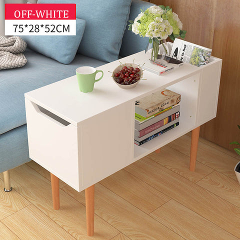 Scandinavian Wooden Off White Side Long Table