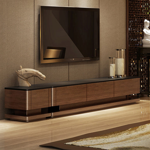 PremiumWooden Furniture TV Console With Burnt Stone Top