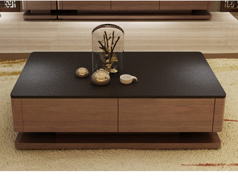 Premium Wooden Furniture  Burnt Stone Top TV Console + Coffee Table Set