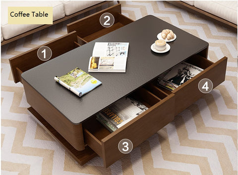 Premium Furniture Wooden Coffee Table With Burnt Stone Top