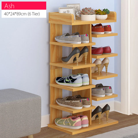 Ash 6/8 Tier Sleek Design Wooden Shoe Rack