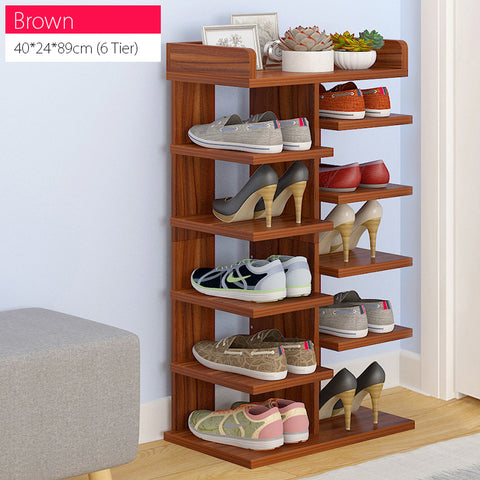 Brown 6/8 Tier Sleek Design Wooden Shoe Rack