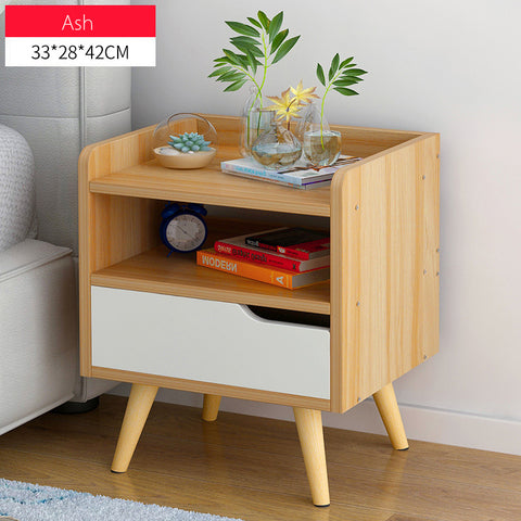 Minimalist Wooden Bedside Table With Single Drawer