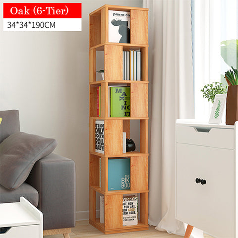 Rotating Wooden Storage Bookshelf-6 Tier