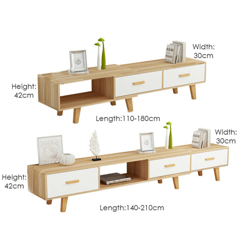 Length Adjustable TV Console with 2 Drawers (110-180cm)