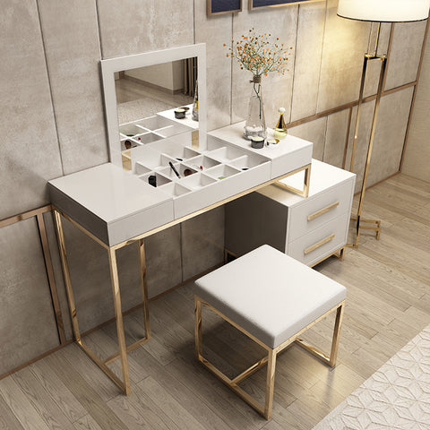 Gold Frame Length Adjustable Gloss Wooden Dressing Makeup Table