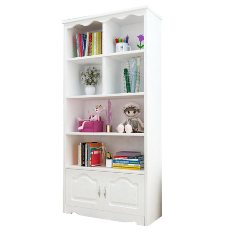 White Classic Wooden Bookshelf-160CM With Doors