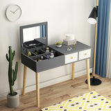 Grey Wooden Fold Down Mirror Dresser Makeup Table - 90cm